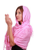 Muslim girl prays — Stock Photo