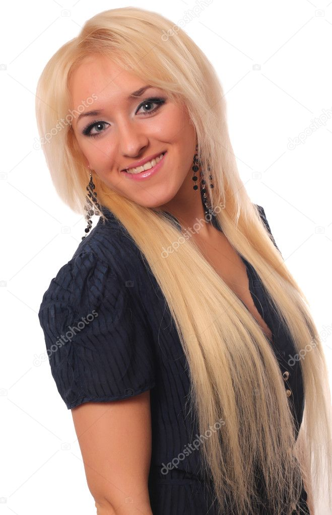 Studio portrait of beautiful young woman with healty blonde hair over white background — Stock Photo #9853509