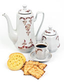 Coffee service and coffee with biscuits — Stock Photo
