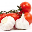 A lot of tomatoes and garlic — Foto Stock