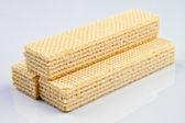 Sweet waffles isolated on white — Stock Photo