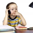 A small businessman in an office with telephone — Stock Photo #9676183