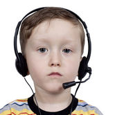 Boy with headphones with microphone — Stock Photo