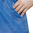 Woman's hand in his pocket jeans — Stock Photo #9732578