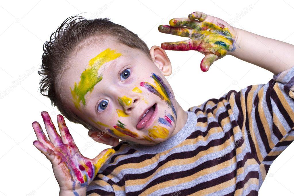 Краски мальчик с открытке 199