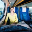 Young woman traveling by train — Stock Photo #10407970