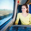 Young woman traveling by train — Stock Photo #10407972