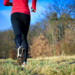 Stock Photo: Jogging outdoors in meadow