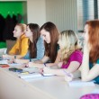 Stock Photo: Students in class (color toned image)