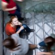 At the university/college - Students rushing up and down a busy — Stock Photo
