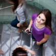 At the university/college - Students rushing up and down a busy — Stok fotoğraf
