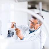 Investigador senior masculino llevando a cabo investigaciones científicas en un laboratorio — Foto de Stock