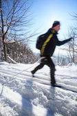 Cross-country skiing: man cross-country skiing — Stock Photo
