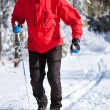 Cross-country skiing: young man cross-country skiing — Stock Photo #7998513