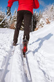 Cross-country skiing: young man cross-country skiing — Foto Stock