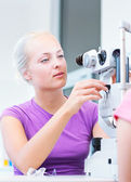 Optometry concept - pretty, young female patient — Stock Photo