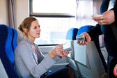 Woman having her ticket checked by the train conductor — Stockfoto
