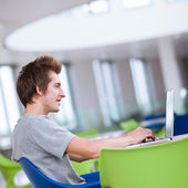 College student using his laptop computer — Foto de Stock