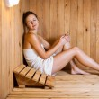 Young woman relaxing in a sauna — Stock Photo #8279862