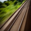 Railroad seen from a fast moving train. — Stock Photo