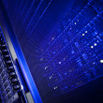 Server rack cluster in a data center — Stock Photo