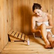 Stock Photo: Young womrelaxing in sauna