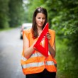 Young female driver after her car has broken down - Stock Photo