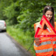 Young female driver after her car has broken down — Stock Photo #8520813