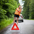 Young female driver after her car has broken down — Stock Photo #8520826