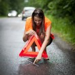Young female driver after her car has broken down — Stock Photo #8520883