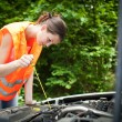 Young female driver bending over the engine of her broken down car — Stock Photo #8666466