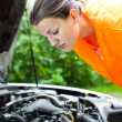 Young female driver  bending over  the engine of her broken down car - ストック写真