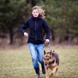 Master and her obedient dog — Stock Photo