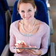Young woman using her tablet in train — Stock Photo #8874394