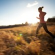 Young woman running outdoors on a lovely sunny winter/fall day — Stock Photo #9115367