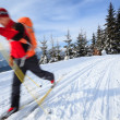 Cross-country skiing: young man cross-country skiing — Stock Photo #9115391