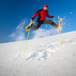 Young man having fun while snowshoeing outdoors - Stock Photo