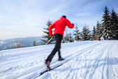 Cross-country skiing: young man cross-country skiing — Stockfoto