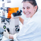 Portrait of a female researcher doing research in lab — Stock Photo
