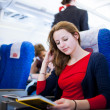 Pretty young female passenger on board of an aircraft — Stock Photo #9270020