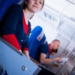 Pretty young female passenger on board of an aircraft — Stock Photo #9270025