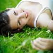 Close-up portrait of an attractive young woman outdoors — Stock Photo #9388836