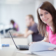 Pretty female student in the library — Stock Photo #9388849