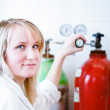 Closeup of a female researcher/chemistry student — Stock Photo
