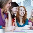 Stock Photo: Four female college students working on their homework