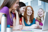 Four female college students working on their homework — Stock Photo