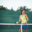 Pretty, young female tennis player on the tennis court — Stock Photo