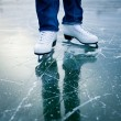 Young woman ice skating outdoors on a pond — Stock Photo #9557130