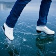 Young woman ice skating outdoors on a pond — Stock Photo #9557134