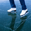Young woman ice skating outdoors on a pond on a freezing winter — Stock Photo